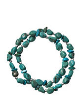 Sterling Silver 2-Strand Turquoise Stretch Bracelet