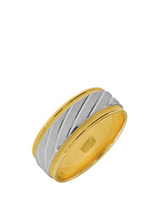 10K Gold 2-Tone Etched Wedding Band – Men's