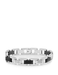 1/2 CT. T.W. Diamond Accent Stainless Steel Black Immersion Plated Bracelet – Men's