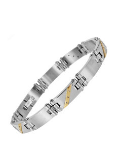 0.05 CT. T.W. Diamond Accent Stainless Steel & 10K Yellow Gold Bracelet – Men's