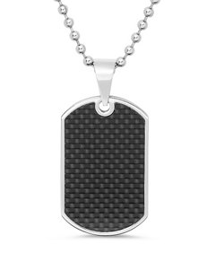 Stainless Steel & Carbon Fiber Dog Tag Pendant – Men's