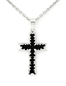 Stainless Steel & Black Immersion Plated Cross Pendant