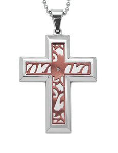 0.01 CT. T.W. Diamond Accent Stainless Steel & Immersion Plated Cross Pendant – Men's