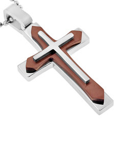 Stainless Steel & Brown Immersion Plated Cross Pendant – Men's