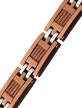 Brown IP Stainless Steel Cable Link Bracelet