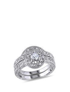1/10 CT. T.W. Diamond & 1/3 CT. T.G.W. White Sapphire Sterling Silver Bridal Ring Set