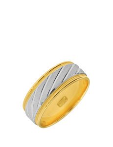 10K Gold 2-Tone Etched Wedding Band