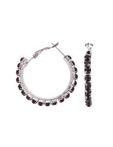 Via Roma Black Hoops Earrings Fashion Jewelry