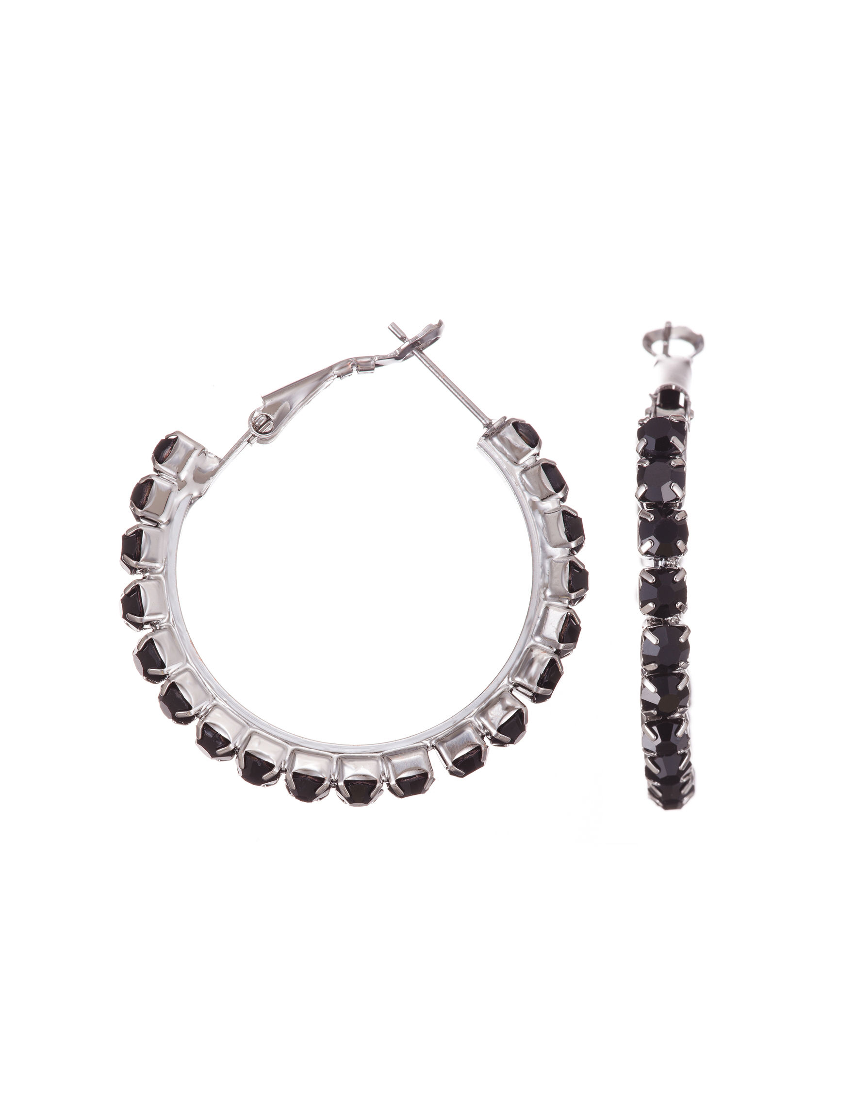 Via Roma Black Hoops Earrings Fashion Jewelry