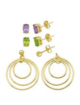 PAJ Inc. 18K Gold Over Silver Genuine Stone Interchangeable Circle Earrings