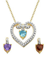 PAJ Inc. 18K Gold Over Silver Gemstone & Diamond Accent Interchangeable Floating Heart Necklace