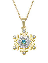 PAJ Inc. 18K Gold Electroplated Over Silver Diamond Accent & Sky Blue Topaz Snowflake Necklace