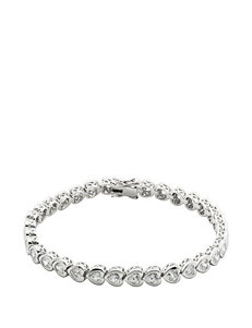 PAJ Inc. Platinum Plated Over Silver Cubic Zirconia Heart Bracelet