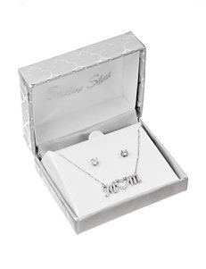 Sterling Silver Mom Necklace & Stud Earrings - Gift Boxed