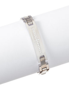 NES Stainless Steel Cubic Zirconia Sideways Cross ID Bar Bracelet