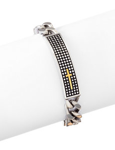 NES Stainless Steel Textured ID Bar Bracelet
