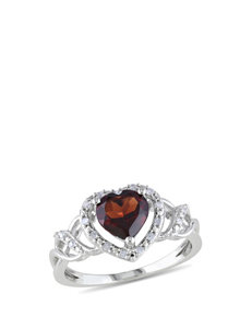 1/10 CT. T.W. Diamond & Garnet Sterling Silver Ring