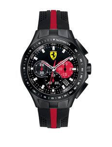 Scuderia Ferrari Men's Black & Red Lap Time Analog Digital Silicone Strap Watch
