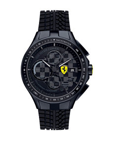 Scuderia Ferrari Men's Black Race Day Tire Tread Silicone Watch