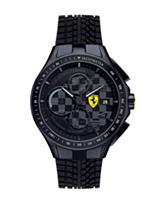Scuderia Ferrari Men's Black Race Day Tire Tread Silicone Watch