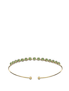 5th & Luxe Multiple Peridot Swarovski Crystal 14K Gold Plated Bangle
