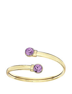 5th & Luxe Light Amethyst Swarovski Crystal 14K Gold Plated Flex Bangle