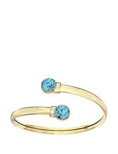 5th & Luxe Aquamarine Swarovski Crystal 14K Gold Plated Flex Bangle