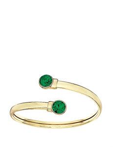 5th & Luxe Emerald Swarovski Crystal 14K Gold Plated Flex Bangle