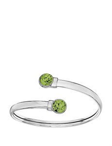5th & Luxe Peridot Swarovski Crystal Silver Plated Flex Bangle