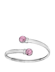 5th & Luxe Light Rose Swarovski Crystal Silver Plated Flex Bangle