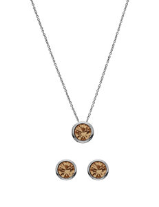 5th & Luxe 10mm Light Colorado Swarovski Crystal Silver Plated Necklace & Earrings Set