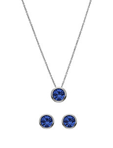 5th & Luxe 10mm Sapphire Swarovski Crystal Silver Plated Necklace & Earrings Set