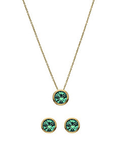 5th & Luxe 10mm Blue Zircon Swarovski Crystal 14K Gold Plated Necklace & Earrings Set