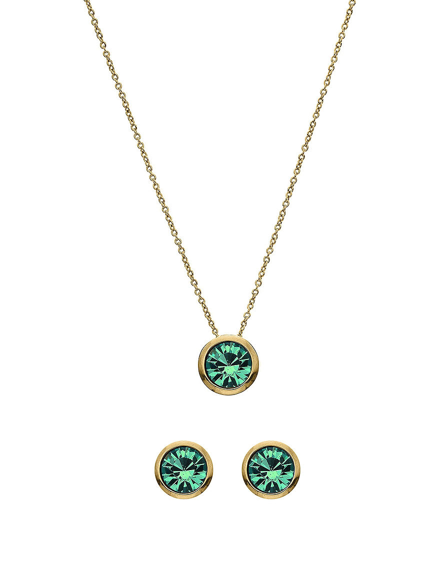 5th luxe 10mm blue zircon swarovski 14k gold