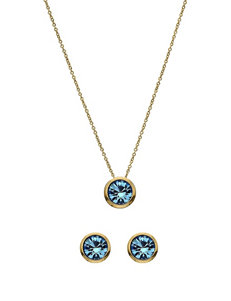5th & Luxe 10mm Aquamarine Swarovski Crystal 14K Gold Plated Necklace & Earrings Set