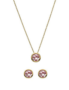 5th & Luxe 10mm Light Rose Swarovski Crystal 14K Gold Plated Necklace & Earrings Set