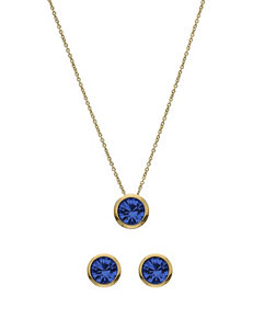 5th & Luxe 10mm Sapphire Swarovski Crystal 14K Gold Plated Necklace & Earrings Set