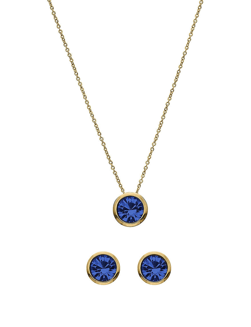 5th luxe 10mm sapphire swarovski 14k gold plated