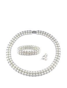 3-pc. Sterling Silver Pearl Necklace, Bracelet & Earrings Set