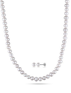2-pc. Sterling Silver Freshwater Pearl Necklace & Earrings Set