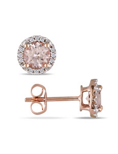 0.07 CT. T.W. Diamond & 1 CT. T.G.W. Morganite 10K Rose Gold Earrings