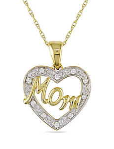 Concerto Diamonds 0.05 CT. T.W. Diamond 10K 2-Tone Gold Mom Heart Necklace