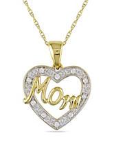 Concerto Diamonds 0.05 CT. T.W. Diamond 10K 2-Tone Gold Mom Heart Necklace