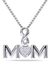 0.03 CT. T.W. Diamond Sterling Silver Infinity Mom Necklace