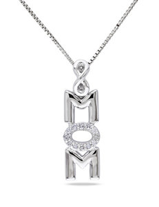 s 0.06 CT. T.W. Diamond Sterling Silver Mom Necklace