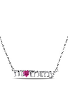 3/5 CT. T.G.W. Created Ruby Sterling Silver Mommy Necklace