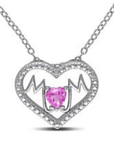 1/4 CT. T.G.W. Created Pink Sapphire Sterling Silver Mom Heart Necklace