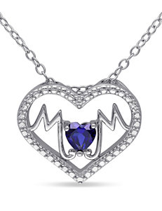 1/4 CT. T.G.W. Created Sapphire Sterling Silver Mom Heart Necklace