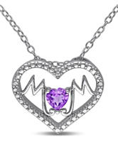 1/3 CT. T.G.W. Amethyst Sterling Silver Mom Heart Necklace