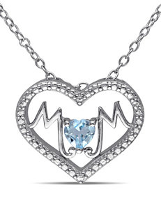 1/3 CT. T.G.W. Blue Topaz Sterling Silver Mom Heart Necklace